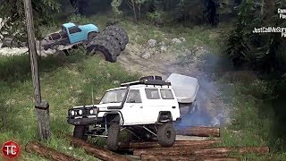SpinTires MudRunner: Obstacle Course!! Multiplayer on Hometown Trailing