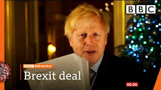 Boris Johnson shows off Brexit trade deal in Christmas message 🔴 @BBC News live - BBC