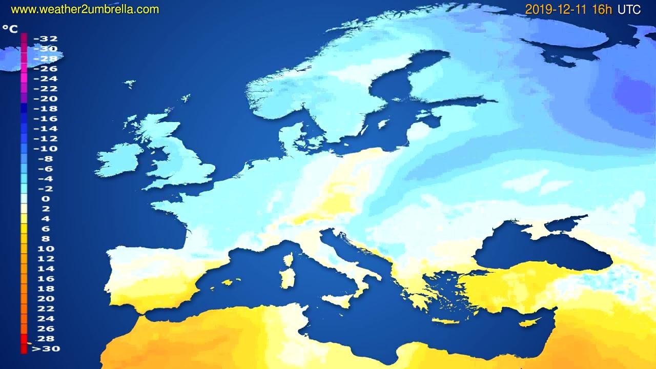 Temperature forecast Europe // modelrun: 12h UTC 2019-12-10
