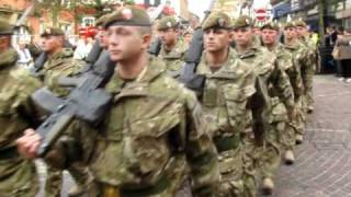 preview picture of video 'Mercian (Cheshires) Homecoming parade through Stockport 10 Nov 2010'