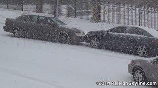 02/12/2014 Raleigh, NC Snow wrecks and sliding cars - RaleighSkyline com