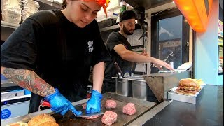Yummy BIG Burgers, Hand Pressed, Tasted in Camden Town. Street Food of London
