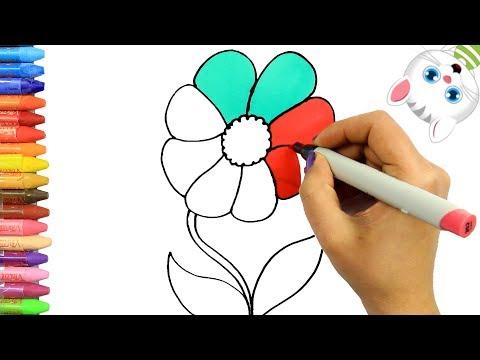 Arı Ve çiçek çizimi Kolay Kolay çizim Ve Boyama çocuklar Için