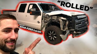 I BOUGHT A ROLLED $68,000 TRUCK?! Wrecked 2016 Ford F350 Lariat Super Duty 6.7l Powerstroke