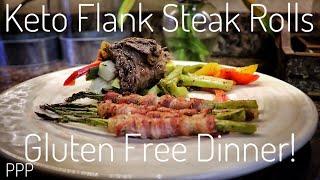 Keto Flank Steak Veggie Rolls & Bacon Wrapped Asparagus