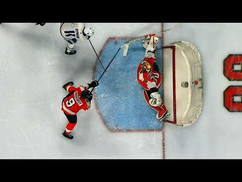 Flyers' Provorov makes heads up play after Neuvirth makes double save