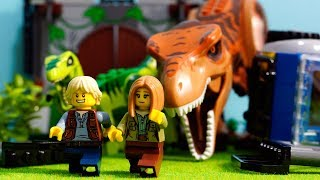 LEGO遊び大パニック!レゴでジュラシックワールドごっこ恐竜たちが逃げ出したぞ!急いで捕まえろ!アナケナ&カルちゃんのキッズアニメJURASSICWORLD1075810757