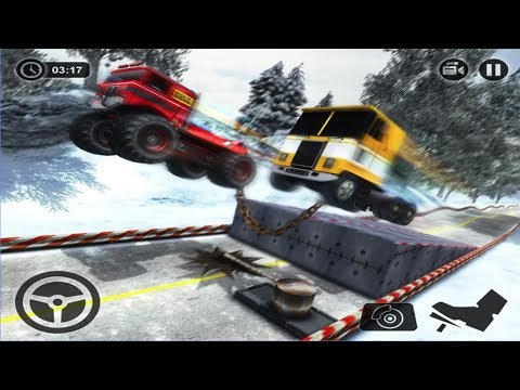 Parallel Truck Racing Against Bollard - Heavy Truck Vehicle Chained Game Android GamePlay FHD