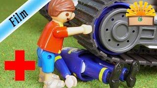 UNFALL Unter THW KettenBAGGER Geraten  FAMILIE Bergmann 147  Playmobil Film Deutsch