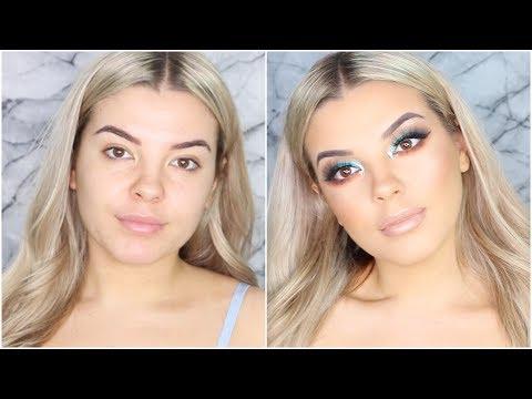 Jaclyn Hill X Morphe Brushes Palette Blue Makeup Tutorial ♡ Jasmine Hand