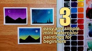 3 Easy And Simple Mini Watercolor Paintings For Beginners | Step-by-step Tutorial