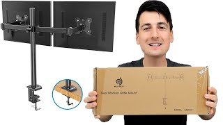 Cheapest Dual Monitor Stand on Amazon // HUANUO Dual Monitor Desk Mount Installation