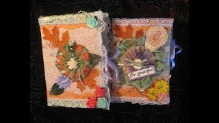 Handmade Journals / Diaries Covered In Fabric And Lace (Autumn Colors)