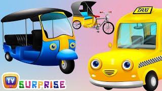 Surprise Eggs Toys – Public Transport Vehicles for Kids Part 2   Rickshaw, Tuk Tuk & more   ChuChuTV