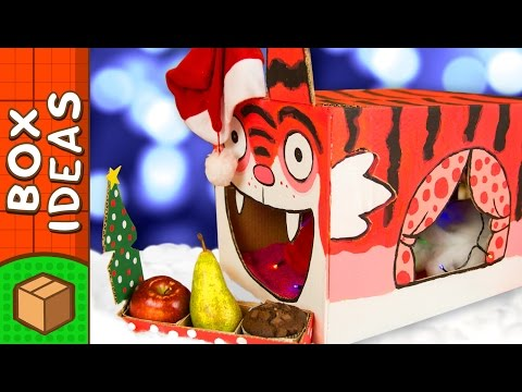 Painting the Christmas Cat House | DIY Christmas Crafts for Kids on Box Yourself