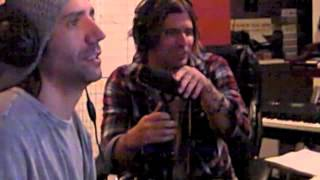 Austin Winkler of Hinder and Tantric's Hugo joking around in the recording studio