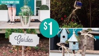 DOLLAR STORE GARDEN DIY IDEAS   Farmhouse Inspired Light, Planter, Sign & Birdhouses