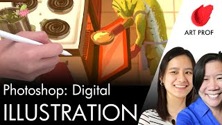 Art Professors Demos Digital Illustration W/ Ink & Photoshop