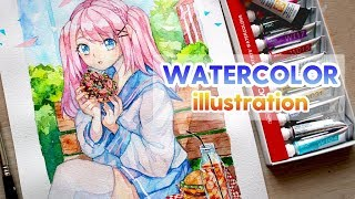 Watercolor Painting Timelapse Manga Girl YUMMY #1