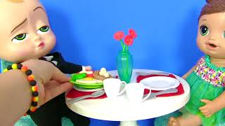Мультик с Плей До! Вкуснейший обед для кукол и Босса Молокососа от MY TOYS PINK! Пластилин Play Doh