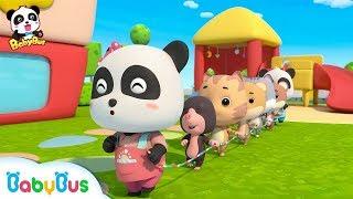 Baby Panda Plays Games in Kindergarten | Workout for Kids | Panda Cartoon | Sharing Song | BabyBus