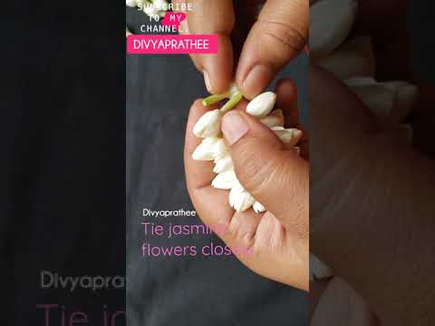 , title : 'Tie jasmine flowers closely/ Traditional method / #Divyaprathee