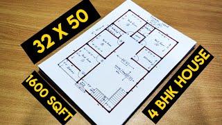 4 Bhk  House Plan II 1600 Sqft House Plan II 32 X 50 Ghar Ka Naksha