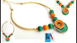 How to Make Designer Silk Thread Necklace // Silk Thread Necklace with Chandbali ring //diy