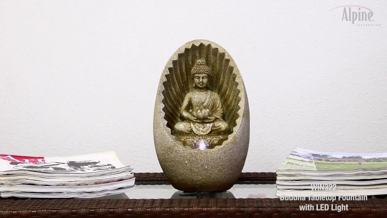 "Buddha Sunburst 11""H Tabletop Zen Fountain with LED"