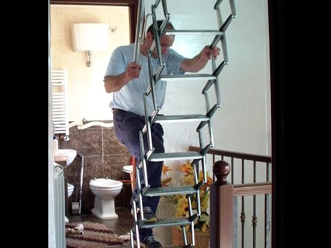 Come Installare una scala retrattile.  How to Install a retractable ladder