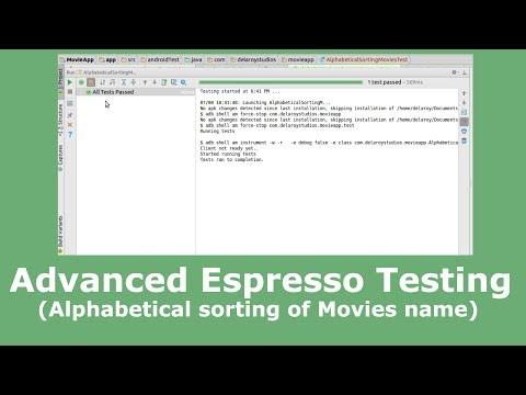 Advanced Espresso Testing (Alphabetical Sorting of Movies)