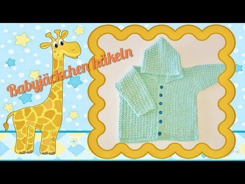 Baby-Jacke häkeln ❤ mit Kapuze 😍  einfaches Häkelmuster