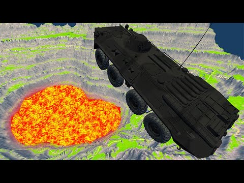 BeamNG Drive - Leap Of Death Car Jumps & Falls Into Hot Lava