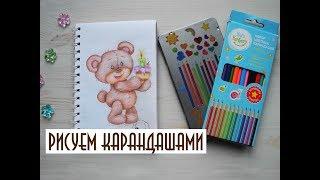 Рисуем медвежонка с тортиком цветными карандашами из Фикс Прайс / SpeedPaint (2018)