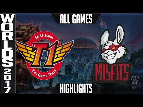 SKT vs MF Highlights ALL GAMES - Worlds 2017 Quarterfinals - SK Telecom T1 vs Misfits ALL GAMES