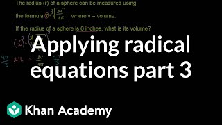 Applying Radical Equations 3