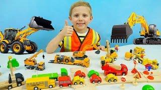 Машины SIKU для детей. Экскаватор   Автокран   Дорожный Погрузчик - Детское видео про Машинки