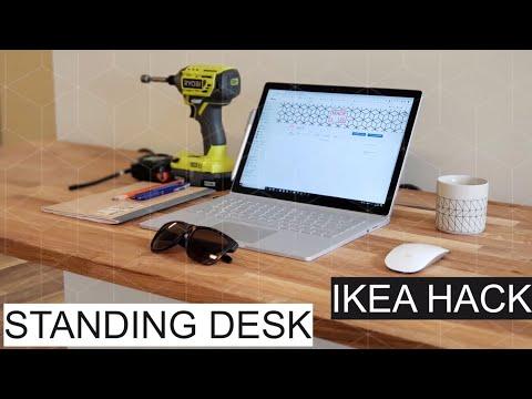 Build Floating Standing Desk Ikea Hack with HAMMARP Butcher Block Countertop