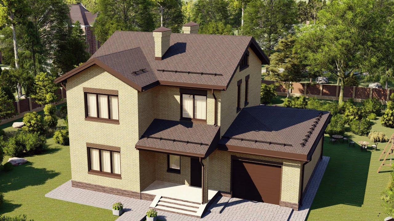 Проект красивого загородного дома с гаражом и удачной планировкой 157 м2