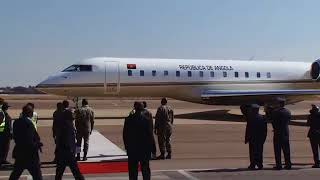 Arrival of the Angolan President Joao Lourenco at Waterkloof Airbase.