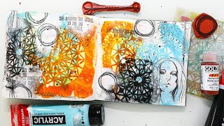 Art Journal Page For Beginners - Stencil Background Tutorial