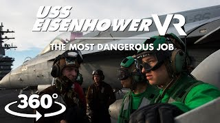 Intense and dangerous: Incredible VR views of active aircraft carrier flight deck