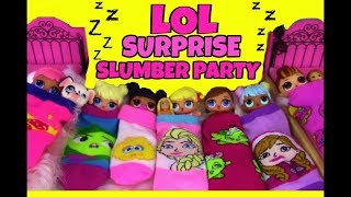 LOL Surprise Dolls  SLUMBER PARTY  Disney Princess Theme 👉 Blind Bags Candy Doll Story Video
