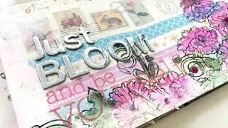 Página de Art Journal: Just Bloom. Inspírate conmigo. Art Journal process