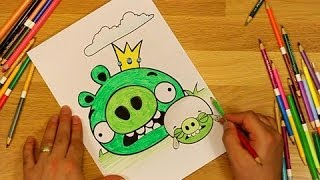Angry Bird Coloring King Pig And Corporal