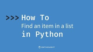 How to find an item in a list in Python
