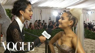 Ariana Grande on Her Sistine Chapel Ceiling Dress   Met Gala With Liza Koshy   Vogue