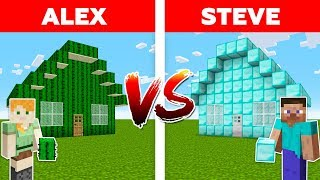 Minecraft - DIAMOND HOUSE vs CACTUS HOUSE / Alex vs Steve #1