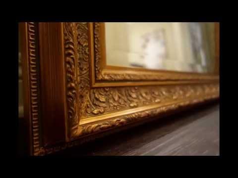 Elegance Ornate Embossed Wood Framed Floor Mirror Antique Gold Leaf