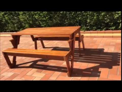 Panca Tavolo in legno - trasformabile -Panchina Giardino Terrazzo esterno